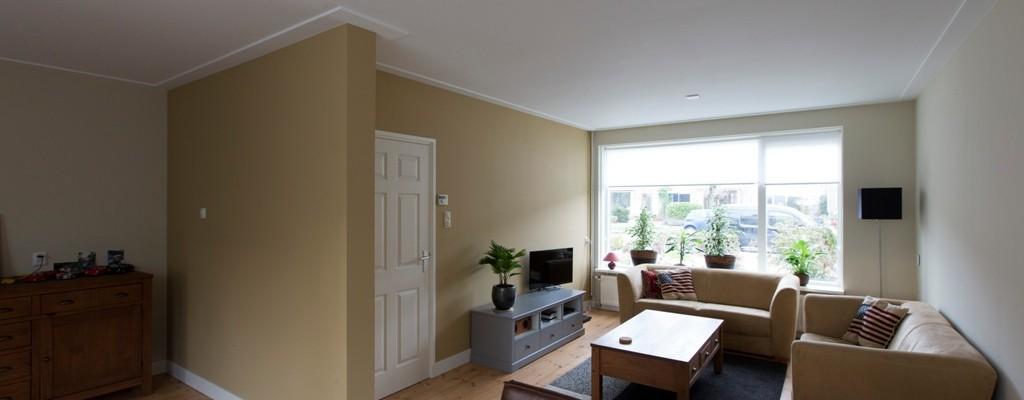 Stucwerk en schilderwerk woonkamer